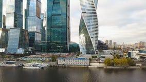 Взгляд делового центра Москвы Москвы Moskva-города международного, России зажим Взгляд сверху пышного дела стоковое изображение