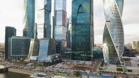 Взгляд делового центра Москвы Москвы Moskva-города международного, России зажим Взгляд сверху пышного дела стоковая фотография rf
