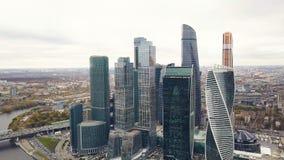 Взгляд делового центра Москвы Москвы Moskva-города международного, России зажим Взгляд сверху пышного дела стоковые изображения rf