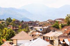 Взгляд деревни Munduk от верхней части крыши, Бали стоковые изображения rf