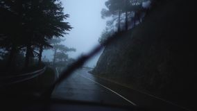 Взгляд дождливой туманной дороги с живописной природой от управлять автомобилем вдоль обочины во время путешествия E ( видеоматериал