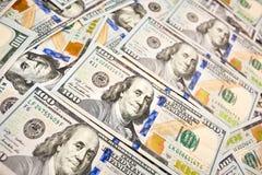 Взгляд долларовой банкноты денег 100 предпосылки обоев американский для Стоковое фото RF