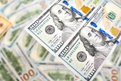 Взгляд долларовой банкноты денег 100 предпосылки обоев американский для Стоковое Фото