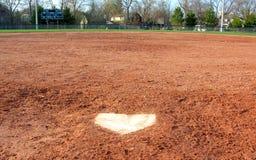 взгляд домашней плиты s улавливателя бейсбола Стоковое Изображение