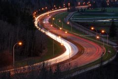 взгляд дороги ночи Стоковое фото RF