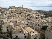Взгляд древнего города Matera, Базиликаты стоковая фотография rf
