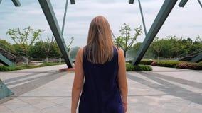 Взгляд задней части Steadicam снял красивой маленькой девочки в голубом платье идя в парк к фонтану видеоматериал