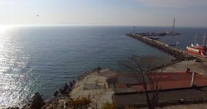 Взгляд залива Burgas от Pomorie от взгляда глаза ` s птицы, Болгарии Стоковое Изображение
