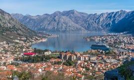 Взгляд залива Kotor сверху Стоковое Изображение