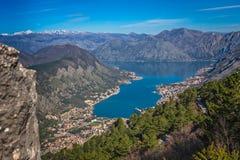 Взгляд залива Kotor сверху Стоковая Фотография