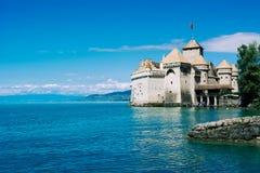 Взгляд замка de Chillon, женевского озера стоковое фото