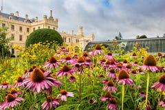 Взгляд замка Lednice от зацветая парка, скачет солнечный день Зеленое frence, дизайн ландшафта Культурное стоковые фото