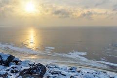 Взгляд замороженного Gulf of Finland в wiinter святой petersburg России моста okhtinsky стоковая фотография