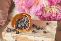Взгляд замороженной голубики красной смородины blackcurrant ягод в домашнем интерьере живя комнаты Уютная концепция весны стоковое фото
