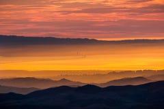 Взгляд захода солнца к San Francisco Bay как увидено от саммита Mt Диабло Стоковые Изображения RF