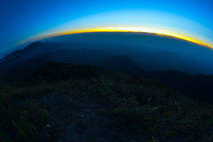 взгляд захода солнца ночи гор Стоковые Изображения RF