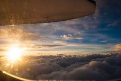 Взгляд захода солнца от самолета Стоковое фото RF