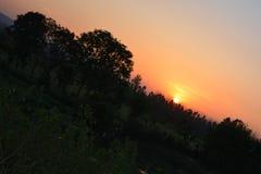 Взгляд захода солнца от triund Стоковое фото RF