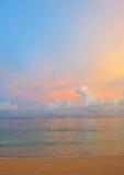 взгляд захода солнца пляжа Стоковое Изображение RF