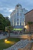 Взгляд захода солнца центральной пешеходной улицы около мечети Dzhumaya и римского стадиона в городе Plovd стоковая фотография rf