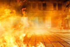 Взгляд здания огня на ноче стоковое фото