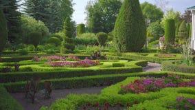 Взгляд зеленого английского сада без людей, с домом сток-видео