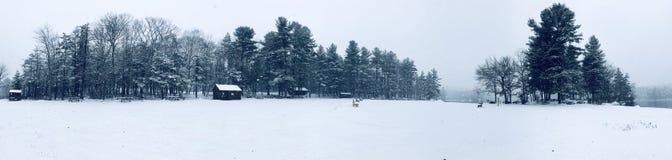 Взгляд зимы панорамы парка штата пруда заусенца стоковая фотография