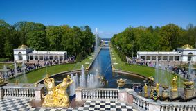 Взгляд известных фонтанов Peterhof Стоковая Фотография RF