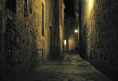 взгляд Испании ночи caceres extremadura Стоковые Изображения RF