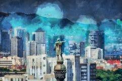 Взгляд картины маслом панорамный в Барселоне иллюстрация штока