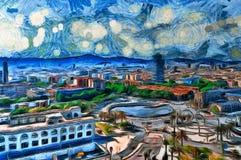 Взгляд картины маслом панорамный в Барселоне иллюстрация вектора