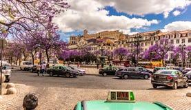--взгляд квадрата Лиссабона Португалии date-20 rossio может 2019 с красивым голубым небом с облаками и красивыми зацветая деревь стоковое фото rf
