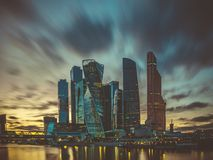 Взгляд квартала дела в городе Москвы Стоковые Изображения RF