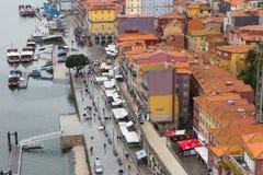 Взгляд квартала Ribeira в Порту, Португалии Стоковое фото RF