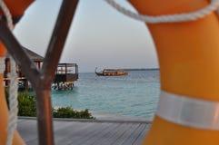 Взгляд кольца безопасности острова Мальдивов Стоковая Фотография RF