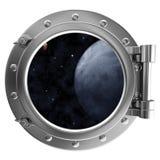 взгляд космоса porthole Стоковая Фотография