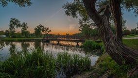 Взгляд красивого лета панорамный от речного берега в парке города вечера на заходе солнца Стоковое Изображение RF