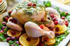 Взгляд крупного плана всего сырцового цыпленка с свежими клюквами петрушки и оранжевыми кусками на олове подноса выпечки подготов Стоковые Изображения