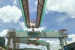 Взгляд крупного плана перспективы cantilever precast конструкция луча стоковые фото