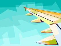 взгляд крыла плоский из окна иллюстрация вектора