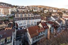 Взгляд крыши над городком на восходе солнца Стоковое Изображение RF