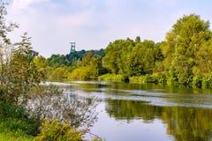 Взгляд к башне colliery Генриха, Рура, Эссена, Германии стоковое фото rf