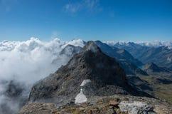Взгляд к держателю Stolemberg с Aosta Valley на предпосылке Массив Monte Роза около Punta Indren Зона Alagna Valsesia стоковое изображение rf