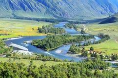 Взгляд к долине реки Chulyshman, Altai стоковое фото rf