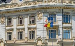 Взгляд к здание муниципалитету муниципалитета Сибиу, подробно стоковое фото