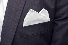 Взгляд к мужскому карманн пальто с фиксированным белым квадратом Аксессуары костюма людей Одежда мужского гостя свадьбы Мужской с стоковое изображение