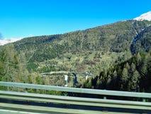 взгляд к холму леса в швейцарских горных вершинах стоковые фотографии rf