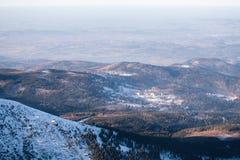 Взгляд к Karkonosze, Польше Стоковое Фото
