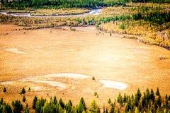 Взгляд ленты реки в осени стоковые изображения rf