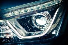 Взгляд лицевой стороны фары автомобиля Стоковая Фотография